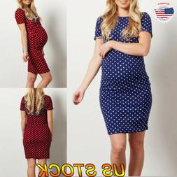 2019 Women Pregnant Maternity Bodycon Slim O-Neck Dot Dresse
