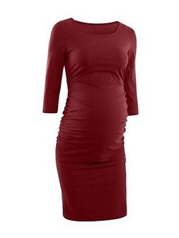 Liu & Qu Maternity BURGUNDY  Dress 3/4 Sleeve Bodycon Ruched