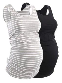 Liu & Qu Maternity Basic Tank Top Mama Clothes Neck Sleevele