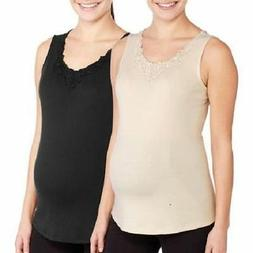 WHITE STAGS 2 PACK MATERNITY TANK TOPS WITH CROCHET TRIM XL