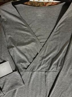 a:glow Grey 3/4 Sleeve Maternity Top Shirt Blouse NEW Size X