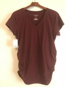 A-Glow Ruched Maternity T-shirt Short Sleeve Shirt maroon re
