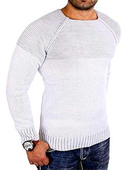 A-LING Mens Ribbed Knitted Pullover Sweater Comfort Twisted
