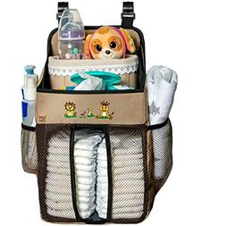 Crib Diaper Organizer –Universal Fit Hanging Playard Diape