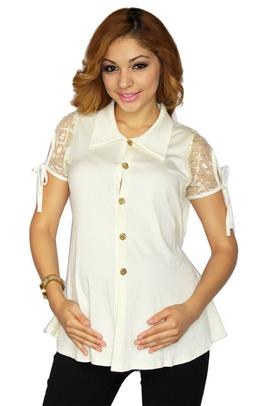 Beige Maternity Short Sleeve top Womens Blouse Clothes Pregn