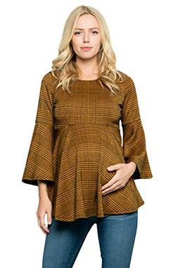 Bell Sleeve Maternity Pleated Top - Bell Sleeve Casual Round