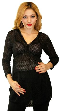 Black Maternity Sheer Knit Top Cover Pregnancy Blouse Soft W