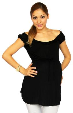 Black Short Sleeve Maternity Blouse Clothes Pregnancy Work A