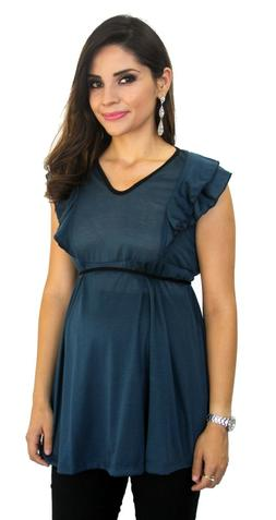 Blue Maternity Sleeveless Top Blouse Work Attire Tie On Back