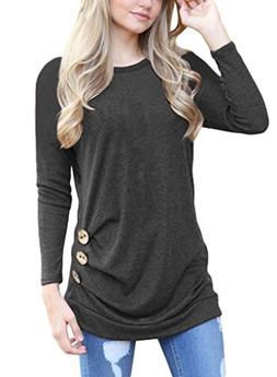 ROSKIKI Women's Button Ruched Pullover T Shirt Blouse Long S