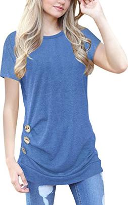 ECOWISH Womens Casual Long Sleeve T-Shirts Buttons Decor Blo