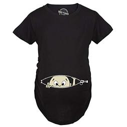 Women's Caucasian Peeking Baby Maternity T-Shirt Cute Funny