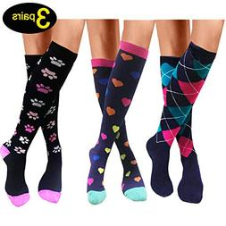 Compression Socks For Men & Women - 3 Pairs - Best for Runni