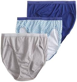 Hanes Women's 3 Pack Cotton Hi-Cut Panty, Assorted, 10