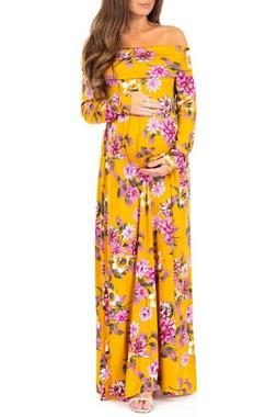 Mother Bee Cowl Neck and Over The Shoulder Maternity Dress M