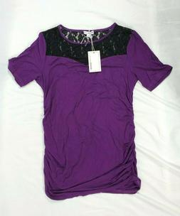 Momo Maternity Deep Purple Alden Black Lace Insert Jersey Kn