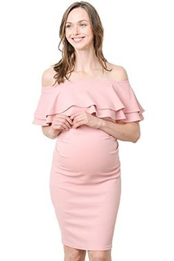 LaClef Women's Double Ruffled Fitted Off Shoulder Maternity