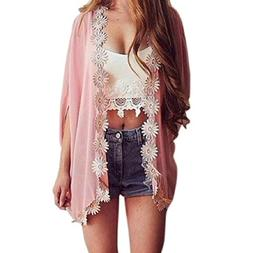 Lookatool Women Ethnic Lace Flower Loose Kimono Cardigan Jac