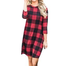 Birdfly Fall Winter Plaid Long Dress Baggy Loose Casual Red-
