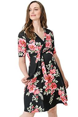 Hello MIZ Women's Floral Faux Wrap Side Tie Nursing and Mate