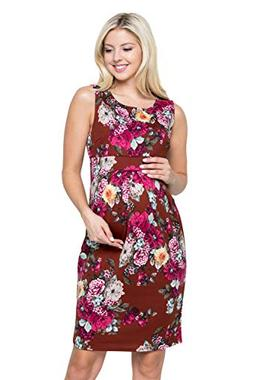 My Bump Women's Floral Front Pleated Sleeveless Knee Length