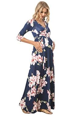 Hello MIZ Women's Floral Print Draped 3/4 Sleeve Long Maxi M
