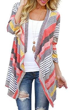 Myobe Women's Fashion Geometric Print Drape Front Cable Knit