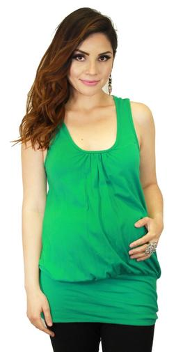 Green Sleeveless Round Neck Solid Pregnancy Maternity Top Of