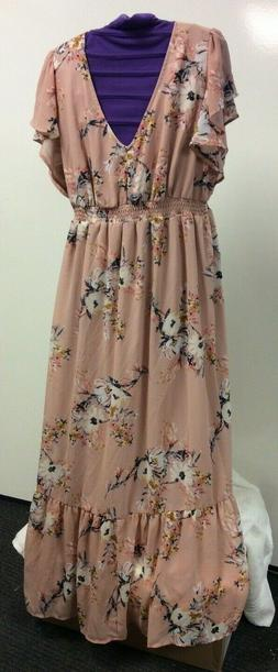 Isabel Maternity Dress Blush Floral LG or XL 200-25-29-3
