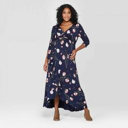 Isabel Maternity Floral Print 3/4 Sleeve Knit Faux Wrap Dres