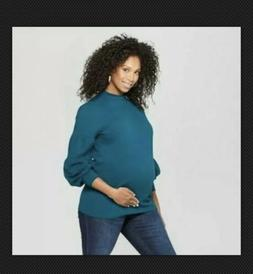 isabel maternity volume long sleeve top teal