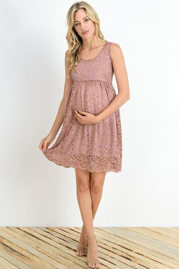 Hello Miz Maternity Floral Lace Knee Length Bodycon Dress Ma