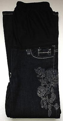 NEW Maternity Clothes Dark Jean Petite with Flower Stitch Sm