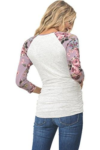 LaClef Crew Neck Maternity T-Shirts