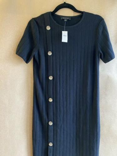 black knit dress with tortoise button side