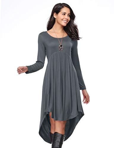 LARACE Women's Sleeve Loose Pleated High Swing - Gray,