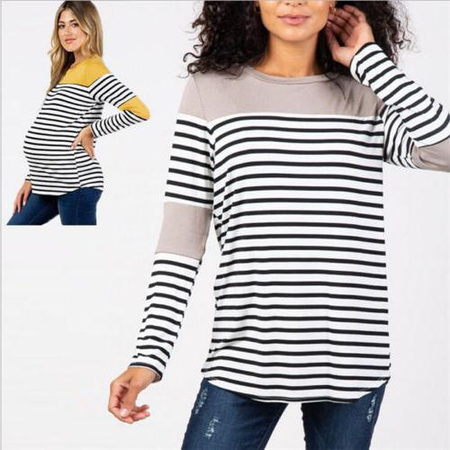 Women Maternity Breastfeeding Tops Splice Pregnancy Tops Tee