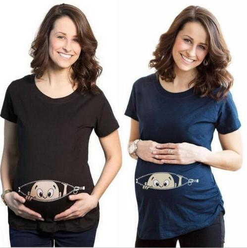 Christmas Maternity Baby Peeking T-shirt Funny Gift Pregnant