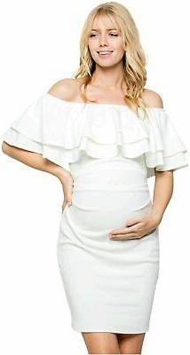 My Bump Double Layer Ruffle Maternity Dress - Fitted,, O.whi