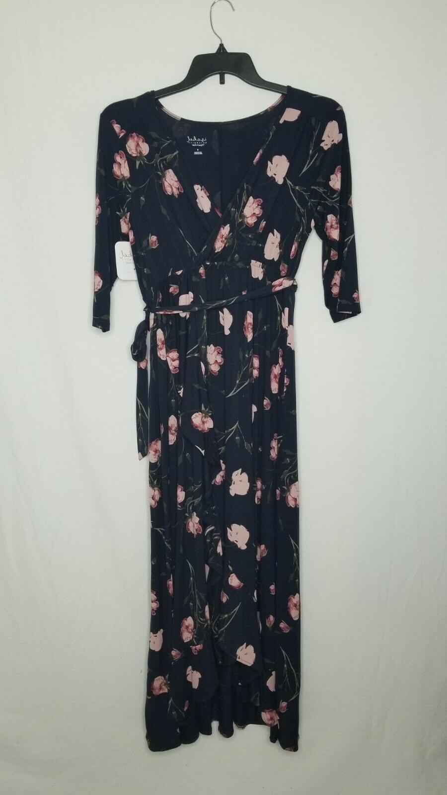 Isabel Floral Print 3/4 Wrap Dress Blue