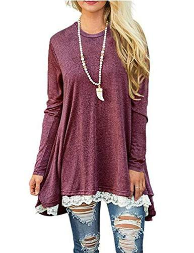 lace long sleeve tops casual