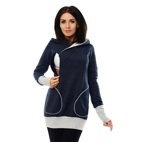 Ladies Pregnant Maternity Clothes Hoodie Blouse