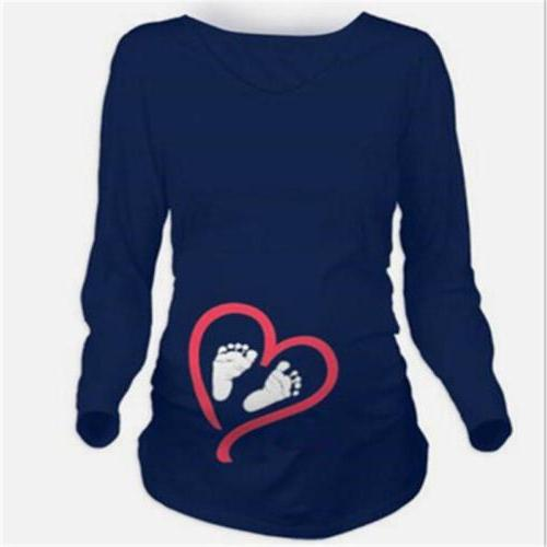 Lady Maternity Long Sleeve Baby Foot Printed T-Shirt D
