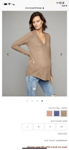 LED Luxe Essential Denim V Neck Maternity Top