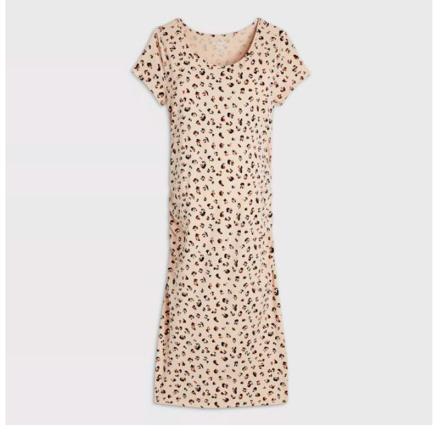 leopard print short sleeve t shirt maternity