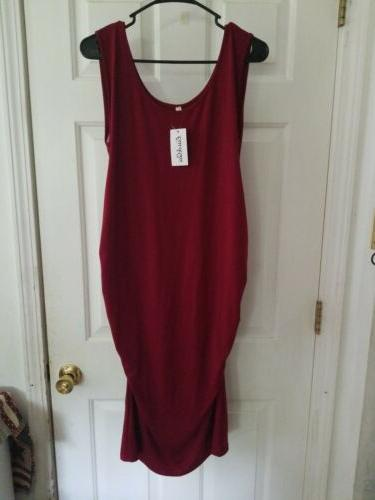 Liu Red Dress Sleeveless Bodycon Ruched Side New w/tag