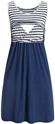 Liu & Qu Women's Sleeveless Nursing Dress Stripe Maternity D