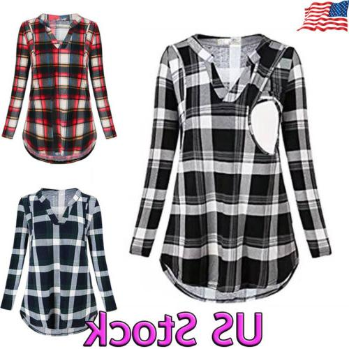 maternity clothes plaids breastfeeding shirts nursing tops