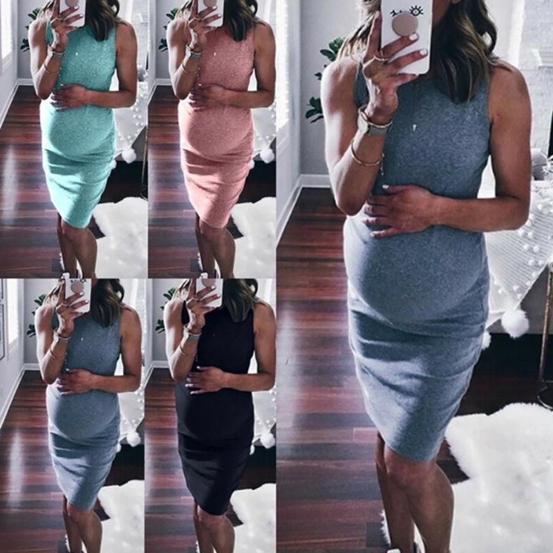 Womens Maternity Midi Dress Sexy Cocktail Evening Party