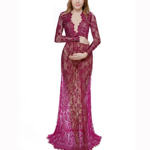 Maternity Maxi Gown Women Photo Props